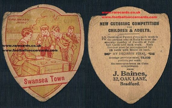 1910 Swansea Town baines guessing card